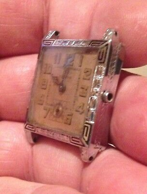 Vintage 1927 Art Deco 14k WGF & Enamel FRANKLIN  BULOVA 10AN mens watch! 4u2fix!