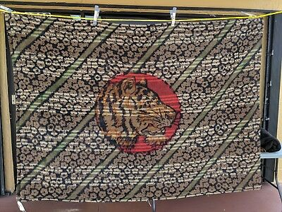Antique Victorian Chase Sleigh Blanket/Buggy Blanket Mohair Tiger Head Glass Eye