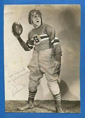 """1941 Jimmy Durante Autographed """"spy Swatters"""" Football Movie Original Wire Photo"""