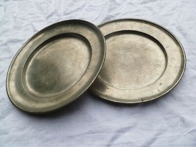 Two Dated 1815 Napoleonic Era Prussian Pewter Table Plate Officer Mess? Platter