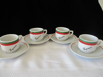 ESPRESSO CUPS AND SAUCERS ~ SET of 4 ~ NEW IN BOX!