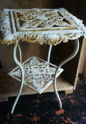 """Antique Vintage Wrought Iron Table Plant Stand Ornate Design 15"""" Tall"""