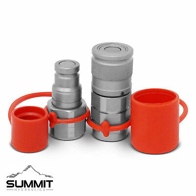 "3/8"" Flat Face Hydraulic Quick Connect Coupler / Coupling Set, 1/2"" SAE Thread"