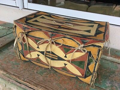 Beautiful Old Northern Plains Parfleche Painted Box N R Fresh Estate Find
