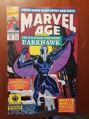 Marvel Age 97, pre-Darkhawk 1 appearance of Darkhawk