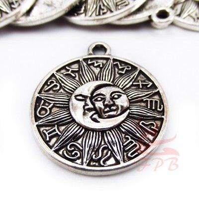 Sun And Moon Charms 29mm Antiqued Silver Plated Pendants SC0101080 - 2/4/8PCs