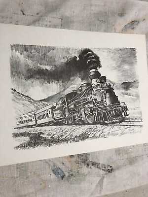 roscoe misselhorn steam locomotive 9X12 print