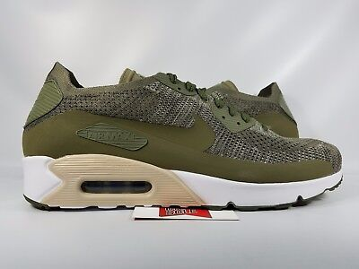 5b4d29434b3 Nike Air Max 90 Ultra 2.0 Flyknit OLIVE GREEN WHITE BLACK ALL 875943-200 sz