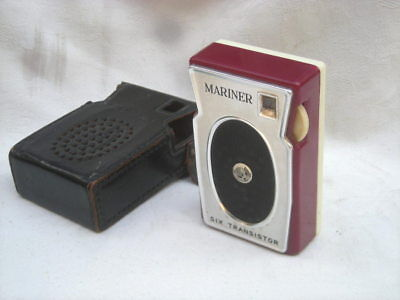 Vintage MARINER 'Six Transistor'  Portable RADIO, 1960's, Leather Case - Retro
