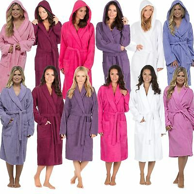 Womens/Ladies 100% Cotton Terry Towelling Bath Robe/Dressing Gown Size 8-22