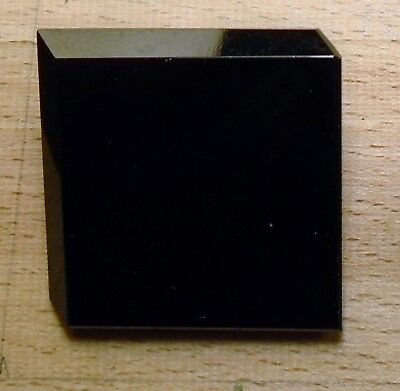 "NICE 1 1/8"" Square in 3D Nice Size GlassBlack Antique Button 709:26"