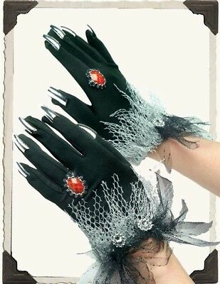 Halloween Black Witch Gloves with Rings & Silver Fingernail Claws O/S  NIB