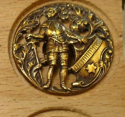 """NICE 1"""" Open Work Rare Man with Cane Brass Antique Button 698:19"""