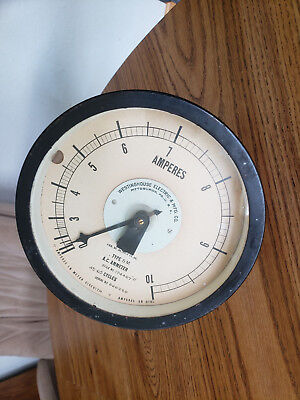 """Westinghouse Round 7 A.C. Amperes Ammeter #174407 """"D"""""""