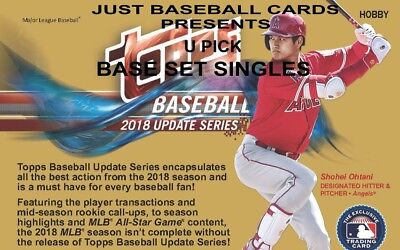 2018 Topps Update Base Card Singles U Pick Complete Your Set List 1