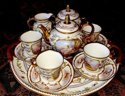 Antique Vincennes/Sevres Angel,Cherub Breakfast Set 8Piece Tea Set Hand Painted