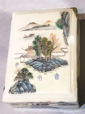 Antique Chinese Scholar Porcelain Seal Paste Box, Finely Painted, 6 Character