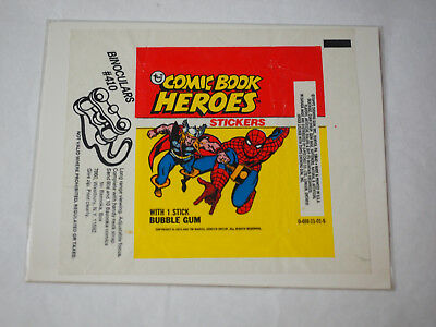 1974 Topps Comic Book Heroes Sticker Wax Pack Wrapper with Binoculars #410 offer