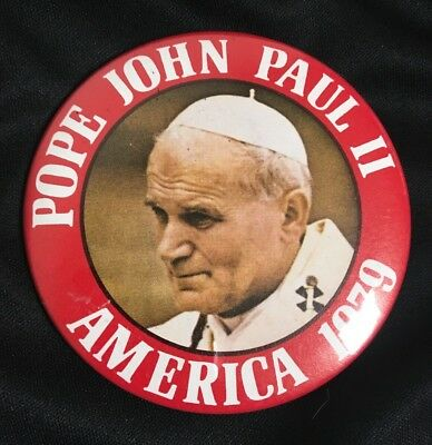 VINTAGE Catholic Pope John Paul II 1979 Visit to America Collectible Button Pin