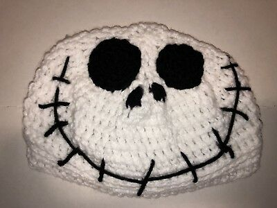 Crochet Jack Skellington Hat Newborn 3 Mo Photo Prop Infant Gift