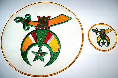 """(2) Early 1980's Large 8"""" & Small 3"""" Masonic Shriners Vest / Jacket Patches"""