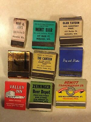 VINTAGE Matchbook Covers, Lot Of 9, Neenah Menasha, Wisconsin Front Strike