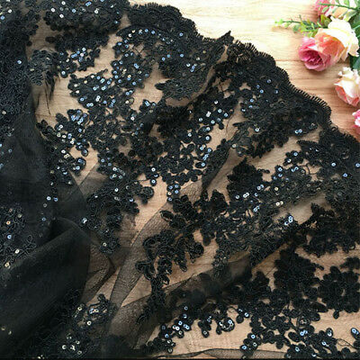"""1 Yard Eyelash Flower Embroidered Black Sequin Lace Fabric 51"""" Width"""