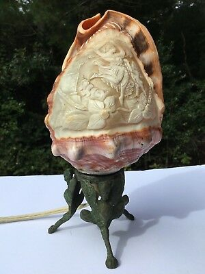 Antique Art Nouveau Bronze Cameo Lamp Circa 1920