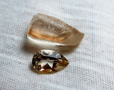 NATURAL TOPAZ FACET ROUGH / 12X8MM  faceted PEAR CUT LOOSE GEMSTONE