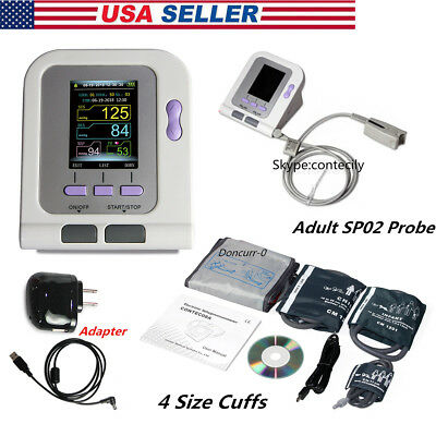 FDA CONTEC08A Digital Blood Pressure Monitor 4 Cuffs+Adult SpO2 Probe,AC Power