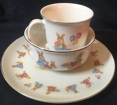 Mount Clemens Pottery Bunny Band Rabbit Baby Childs Bowl Cup Plate Ceramic  Set