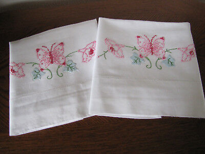 Vintage Pair of Pillowcases Embroidered & Appliqued Butterfly & Morning Glories