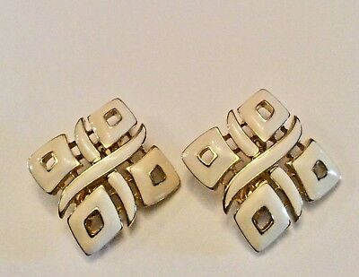 Vintage signed Trifari off white enamel and goldtone abstract clip on earrings