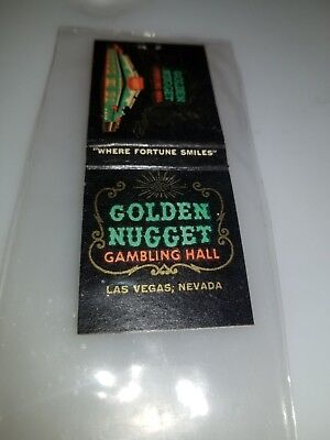 Vintage Full Matchbook Golden Nugget Casino Roulette Wheel Printed On Matches