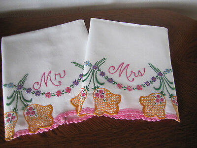 Vintage Pair of Pillowcases Embroidered & Crocheted Aster Garlands His & Hers
