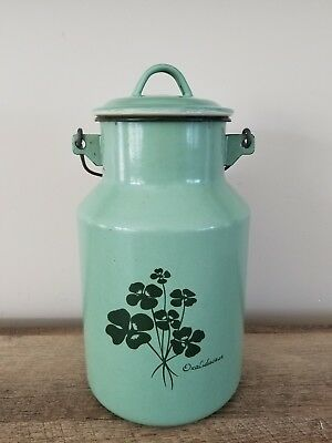 Antique Vintage Green Enamel Porcelain Coated Milk Can W/Bale Handle Oxalidaceae