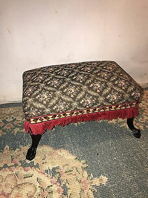 Foot Stool Antique Iron Cast Feet Floral Tapestry Pad See11pix4detail.MAKE OFFER