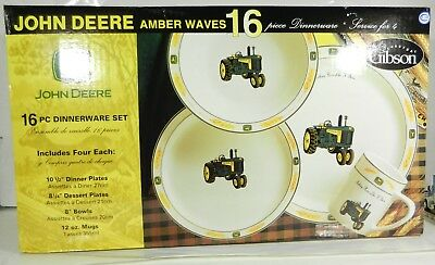BRAND NEW! John Deere *GIBSON* 16 pc Dinnerware Set *BOWL PLATE & MUG* *NIB*