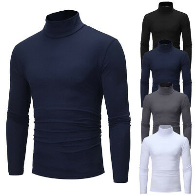 New Mens Roll Neck Long Sleeve Cotton Top Neck Turtle Neck Basic T Shirts