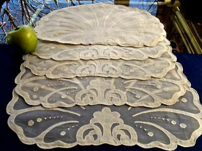 8 Unused FAB Vintage Madeira Gray Organdy Linen Applique Shell Shaped Placemats