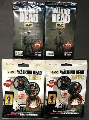 Lot Of 2 Pack Of The Walking Dead Cards & 2 Packs Of TWD Tokenz Brand New