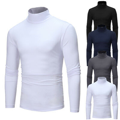 Mens Thermal Cotton Turtle Neck Skivvy Turtleneck Sweaters Stretch Shirt Tops