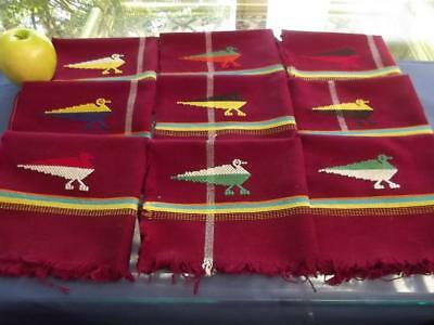 """10 Vintage Guatemalan Hand Woven Wine-Red Cotton 14"""" Napkins Embroidered Birds"""