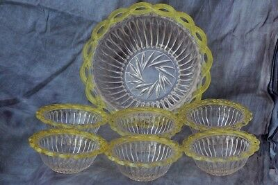 Rare Victorian Set - Clear Glass, Green Filigree -Large Bowl & 6 Small Bowls