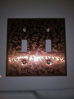 Mid Century Copper Tone Textured Double Gang 2 Switch Cover Plate