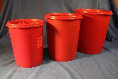 Vintage Tupperware Red Quilt Canister Set 3 Servalier Containers with Lids