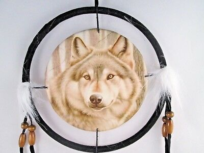 "6.5"" Wolf Head # 3  Dream Catcher With Beads,Fur & Feathers Wall Decoration"