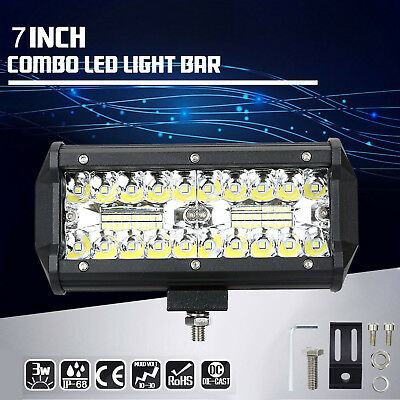 2x 7inch CREE LED Work Light Bar Spot Flood Off Road Fog Driving 4WD 4x4 Reverse