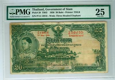 Thailand Government Of Siam 1936 20 Baht P-29 Pmg Vf-25 Ink Stamp On The Back.