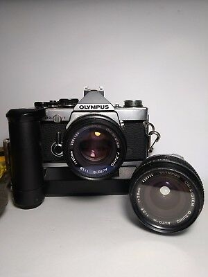 Olympus om-2n SLR camera with 2 lenses, all in excellent condition.